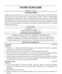 Resume for Sonographer