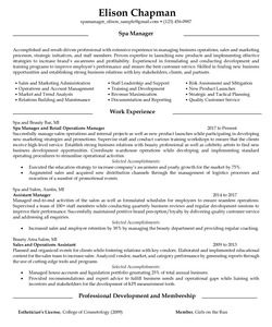 Resume Example for Spa Manager