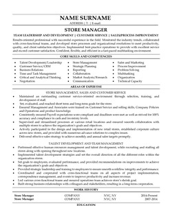 Resume Example for Store Manager