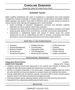 Resume Example for Substitute Teacher