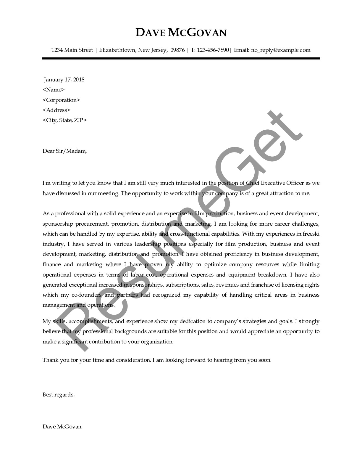 Thank You Letter for Chief Executive Officer