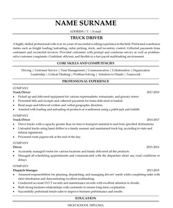 Resume Example for Truck Driver