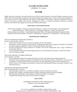 Resume Example for Tutor