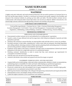 Resume Example for Waitress