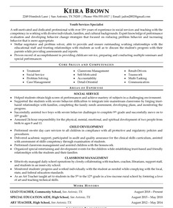 Resume for Youth Services Specialist