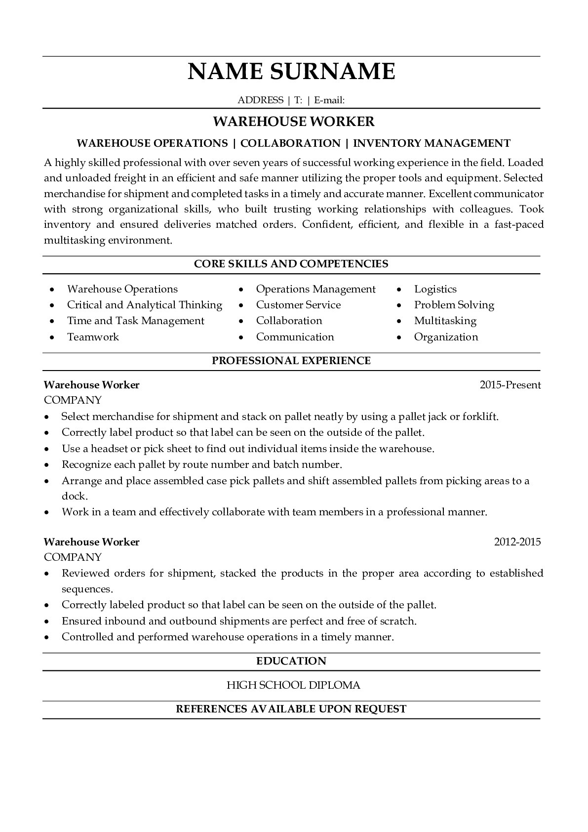 Resume Example for Warehouse Worker